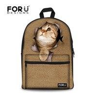 2015 Preppy Style Animal Girls School Bags Cute Cat Kids School Bag 3D Print Multi Function