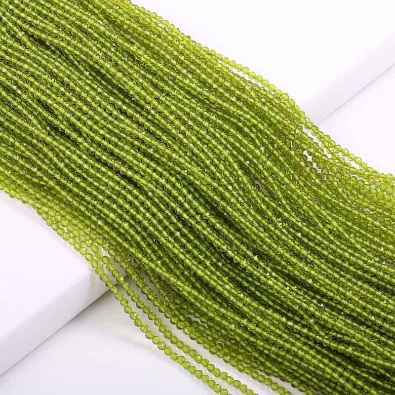 Маленькие бусины из натурального камня изумруды 2 3 мм сечение свободные бусины для изготовления ювелирных изделий ожерелье DIY браслет - Цвет: Peridot