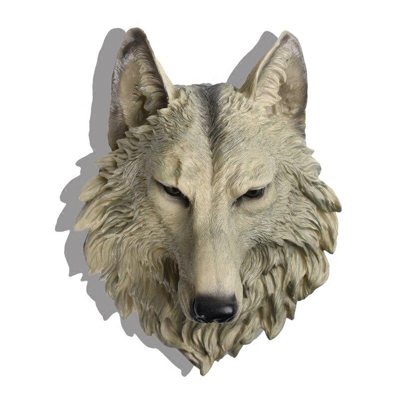 Grande taille tête de loup décoration murale suspendus rétro Animal résine pendentif résine ornements muraux accessoires maison meilleur cadeau R226