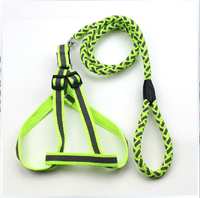 New Style Strong Large Dog Leashes Harness Pet Dog Reflect Light Green Leashes For Dog Free