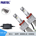 Partol 5S H11 Car Led Headlight Cree Csp Chips 72W 8000Lm IP65 Water Single Beam Led Driving Light Work Daytime Running Lights