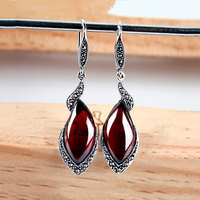 Synthetic Garnet Ruby Earring 925 Silver Green Agate Stone MARCASITE S925 Thai Silver Boucle D Oreille