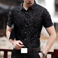 Embroidery Mens Transparent Shirt 2018 New Sexy Lace Shirt For Male See Through Mesh Shirt Club Party Prom Chemise Homme 3xl