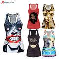 Sportlover Free Shipping 2016 Summer New Fashion Sleeveless Women T-shirt 3D Vest Tops Animal/Skull Bone Camisole Sexy Tank Top