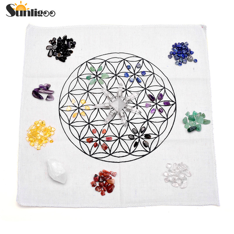 Sunligoo 7 Chakra Healing Cristalli Griglie Kit W/Quarzo Rosa Piramide Generatore di Energia, Trasparente Cristallo Di Quarzo Bacchetta, griglia Panno Altare
