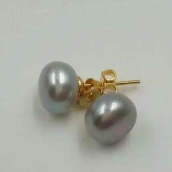 Envío Gratis AAA9-10 mm genuino natural del Sur mar gris perla pendientes de oro de 14 K