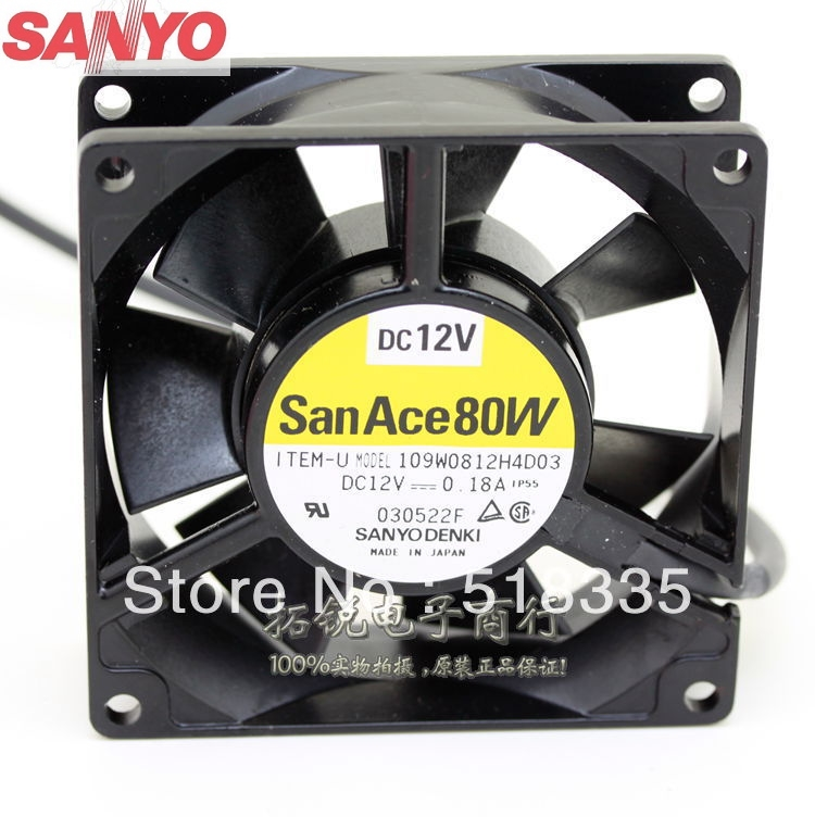 Sanyo 109W0812H4D03 12V 0.18A 8025 8cm 80mm pc case server inverter cooling fan new original sanyo 9gl0812p1k05 12v 1 8a 80 80 38mm 8cm computer server cooling fan