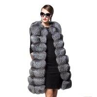 2017 موضة جديدة لونغ فو الثعلب الفراء سترة النساء الشتاء ضئيلة طويل وهمية الفراء سترات معطف الفرو الإناث الاصطناعي الفراء سترة سترات PC274