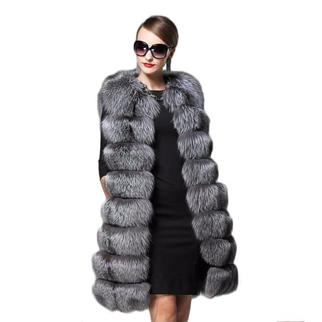 aee562cb1d6 2017 New Fashion Long Faux Fox Fur Vest Women Winter Slim Long Fake Fur  Vests Fur Coat Female Artificial fur vest Jackets PC274