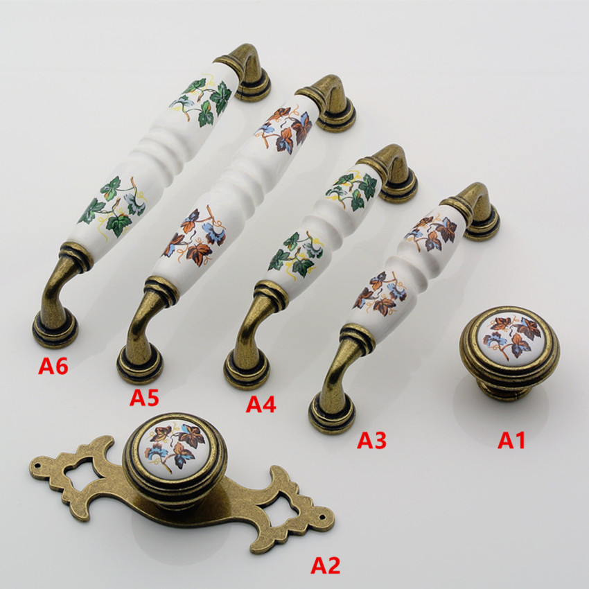 96mm 128mm vintage rural green flower ceramic dresser kitchen cabinet door handles pulls antique brass drawer shoe cabinet knobs цена
