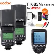 цена 2X Godox TT685N TT685C TT685S TT685F TT685O 2.4G Wireless HSS TTL Speedlite Flash + Xpro-C/S/N/F/O for Nikon Canon Sony fuji Oly онлайн в 2017 году