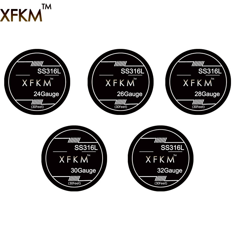 XFKM 10m/roll SS316L 24 26 28 30 32 Gauge RDA RBA Rebuildable Atomizer Heating Wires E Cigarette Stainless Steel Heating Wires