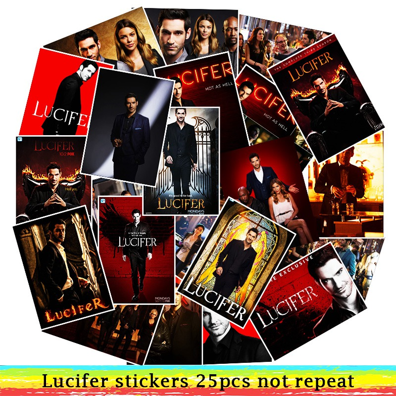 25Pcs/Lot  Waterproof TV Season Lucifer PVC Stickers For Laptop Motorcycle Skateboard Luggage Decal Toy Sticker