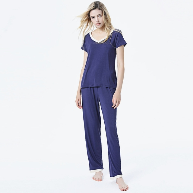 7b8a5522448 Women s Slim Modal Pajama Set V-neck Short Sleeve T-shirt Sleepwear 2018 Ladies  Hot Sell Two Piece Loungewear Plus Size. WINTER SALE