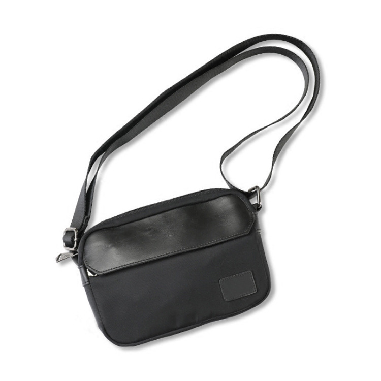 Men Bag Small Bag Crossbody Flap Thin Messenger Mobile Pouch Single Fashion Nylon Interior Zipper Pocket Black Dark Blue Summer