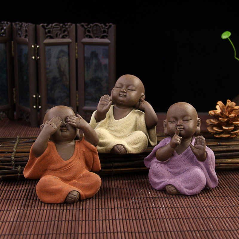 Dropship Chinese ceramic buddha statue Painted pottery tea font b pet b font home decor Decoration