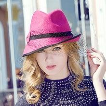 40bf2dc6d6294 Sedancasesa 100% de lana de Australia Cloche Sexy malla sombreros señoras  sombrero señora tapa sombrero de fieltro de las mujere.