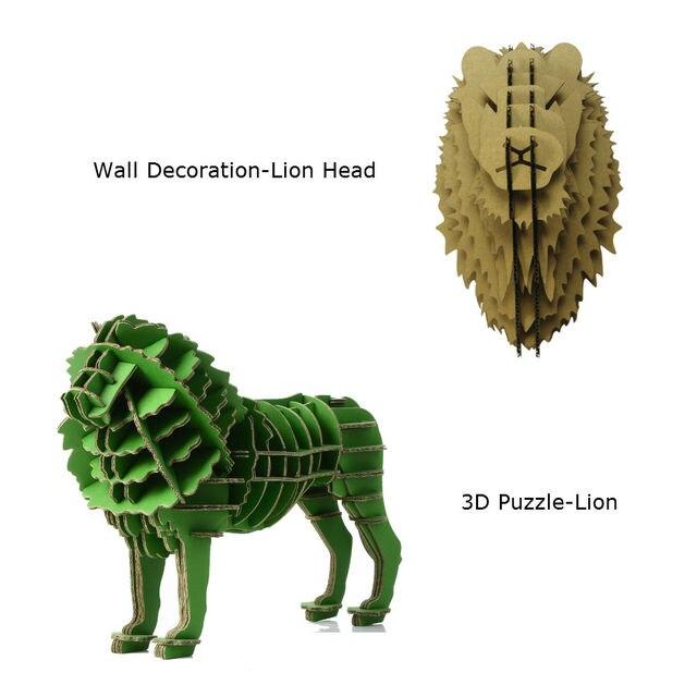 Exceptionnel 2 pcs lion tête décoration murale sculpture 3d jigsaw puzzle  WT58