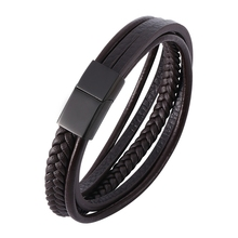 Newest Fashion Leather Bracelet for Men Brown Braid Multilayer Rope Chain Stainless Steel Magnetic Clasp Man Jewelry Gifts PH506
