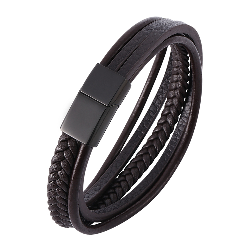ab5e2d21201f Nuevo pulsera de cuero de moda para hombres marrón trenza multicapa Cadena de  cuerda de acero inoxidable Cierre magnético hombre joyería regalos PH506