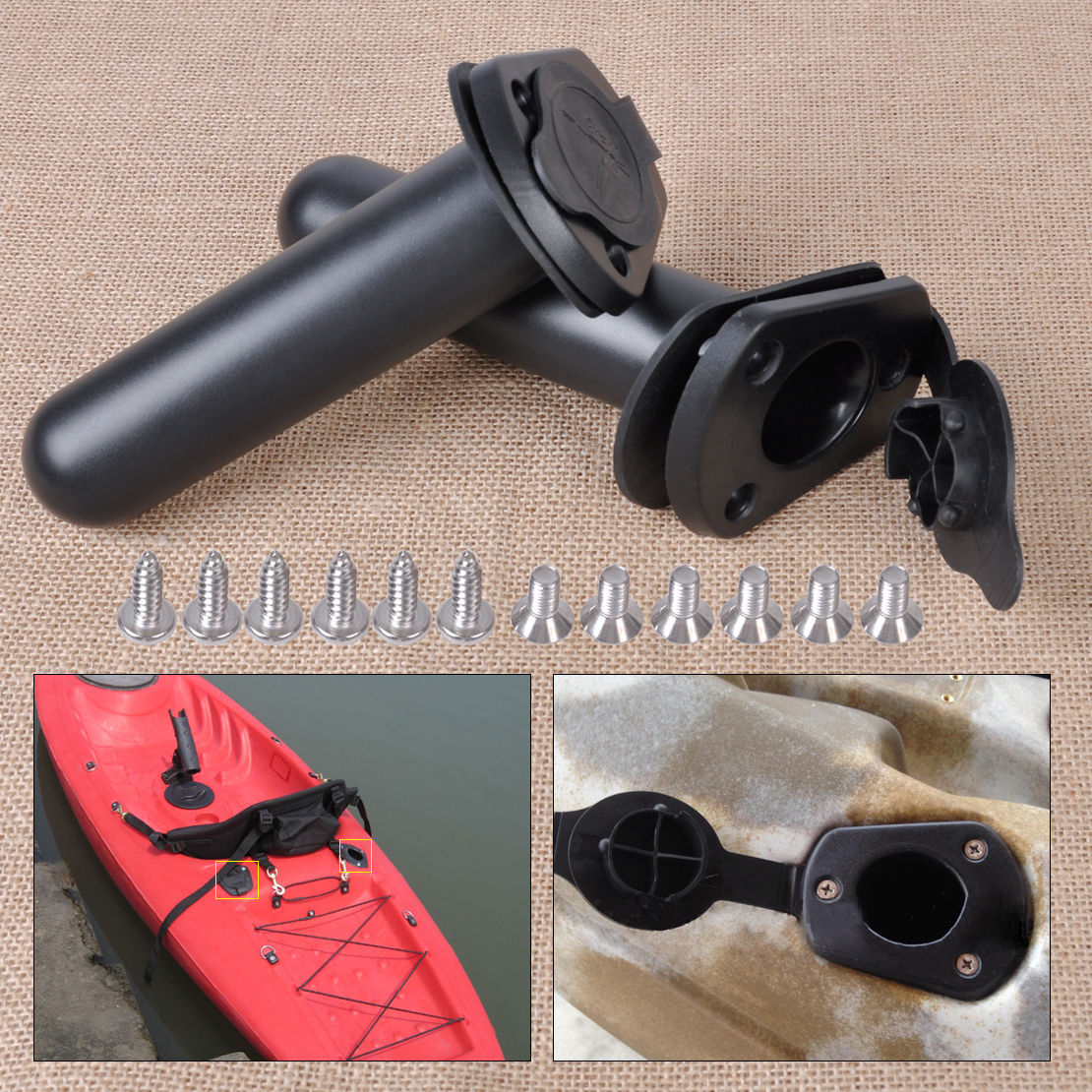 2Pcs Flush Mount Fishing Rod Pole Holder Stand Bracket Rest Replacement For Kayak Canoe Boat Accessories