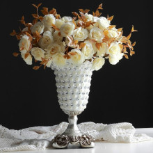New Desgin Diamond European Creative Resin Silver Wedding Vase High-grade Fashionable Decoration Living Room Table Flower Vase