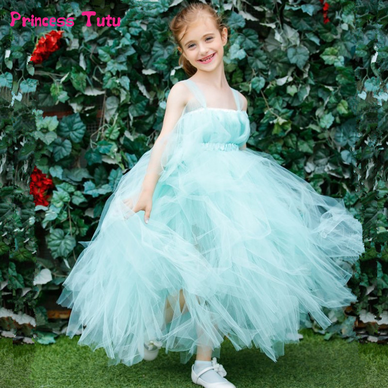 Mint Green Flower Girl Dresses For Weddings Children Tulle Princess Tutu Dress Kids Girl Birthday Party Pageant Ball Gown Dress 2017 new arrival 4t 8t girl party dress organza cotton lining kids pageant ball gown turquoise flower girl dresses for weddings