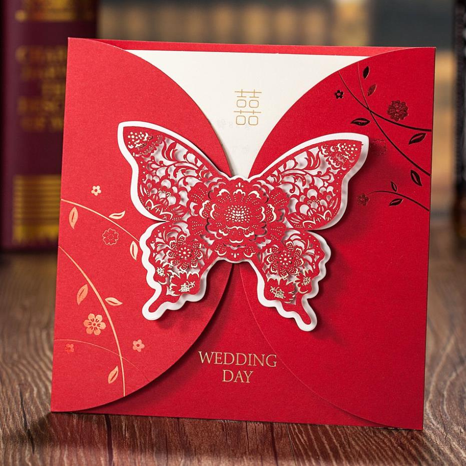 Luxurious laser cut embossed butterfly wedding invitation greeting luxurious laser cut embossed butterfly wedding invitation greeting card personalized printing free shipping in cards invitations from home garden on m4hsunfo