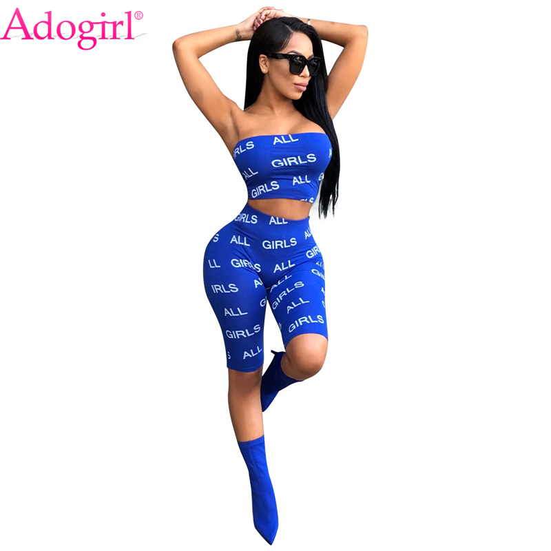 Adogirl All Girls Letters Print Women Tracksuit Strapless Crop Top and Knee Length Pants Leggings Summer Casual Two Piece Set