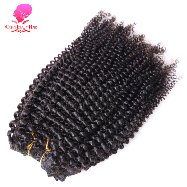 QUEEN BEAUTY 1PC Brazilian Afro Kinky Curly Hair Bundles Remy Human Hair Weave Natural Color 12 inch To 26 inch Free Shipping
