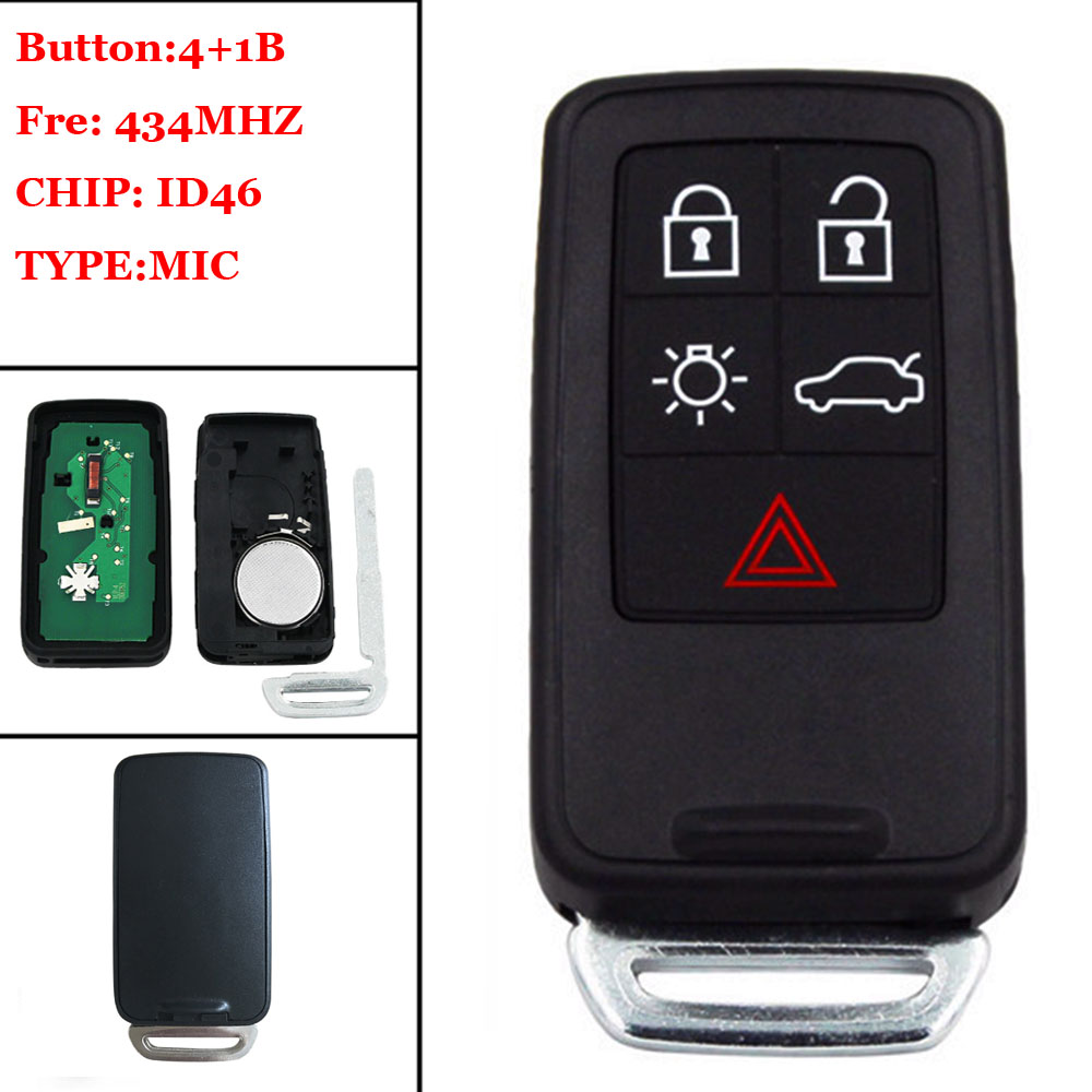 (1pcs ) 5 Button Remote Key Smart Card Z 434Mhz ID46 Chip New Replacement key for Volvo XC60 S60 S60L V40 V60 S80 XC70 Un
