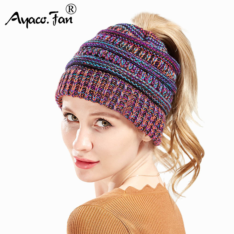 Ponytail   Beanie   Winter Hats for Women Crochet Knit Cap   Skullies     Beanies   Autumn Warm Caps Female Patchwork Knitted Hat New Ladies