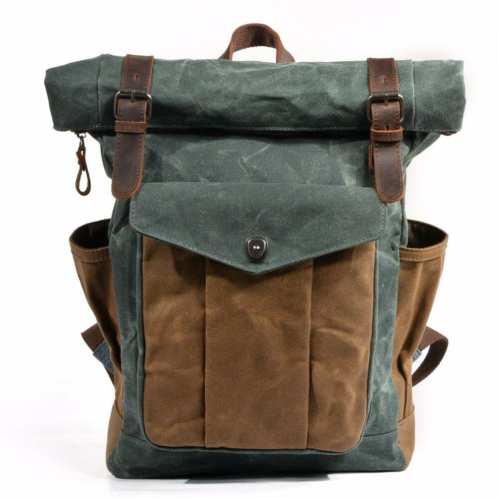 YUPINXUAN Luxus Vintage Leinwand Rucksäcke für Männer Öl Wachs Leinwand Leder Reise Rucksack Große Wasserdichte Daypacks Retro Bagpack