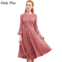 ONLY PLUS S XXL Women Hollow Out Lace Dress Flare Sleeve O Neck Elegant Party Dress Pink Lace Up Button Hit Color Midi Dresses