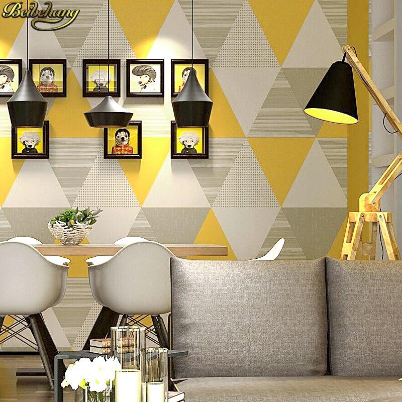 Beibehang moderne mode gris jaune bleu chambre lavable mur papier rouleau décor à la maison géométrique papier peint papel de parede