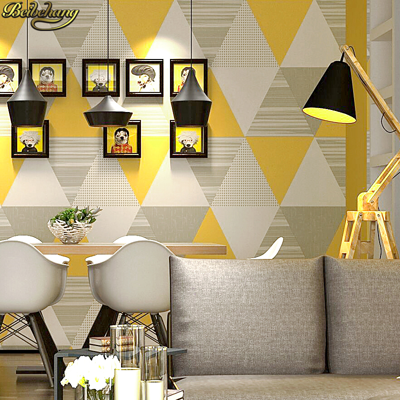 Beibehang Modern Fashion Gray Yellow Blue Bedroom Washable Wall Paper Roll Home Decor Geometric Wallpaper Papel De Parede
