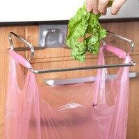 1 pc Hanging Garbage Bags Stainless Steel Rack Storage Kitchen Holders Cupboard