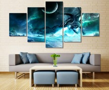 Modern Abstract Wall Art Pictures Home Decoration Canvas Posters 5 Panel Lich King Dragon Frame Living Room HD Printed Painting
