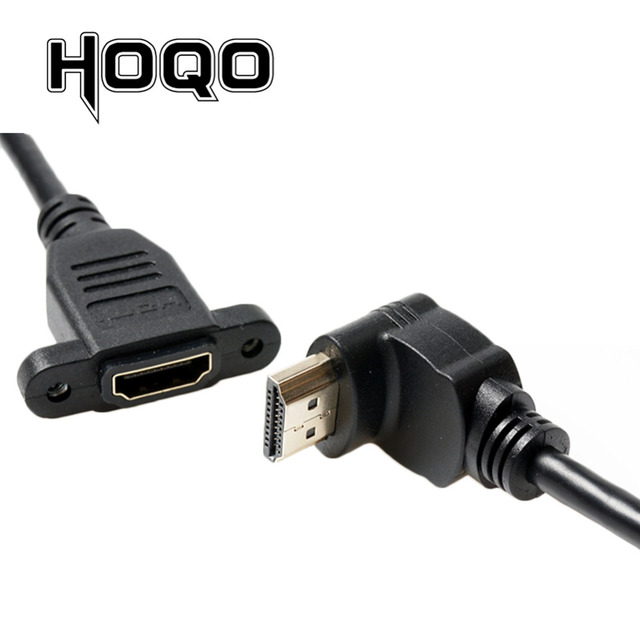 HDMI2.0 4K*2K Short Down UP Angle 90 Degree HDMI Male to Female Extension Cable HDMI panel mount with screw hole For PSP HDTV