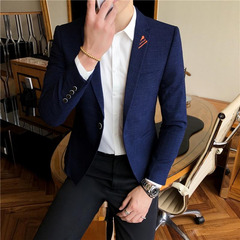2018 New Fashion Korean Style One Button Mens Blazer Slim Fit Casual Blue Suit Blazer Jacket