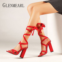 Gladiator Sandals Woman Summer Shoes High Heels Ankle Strap Lace Up Women Party Shoes Thick Heels Peep Toes Black Red Plus Size цены онлайн