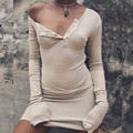 2016 Autumn Winter Sexy One Shoulder Women Bodycon Sweater Dress Long Sleeve Button Knitted Cotton Tight Short Party Dresses