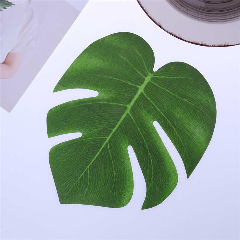 12 pcs 20x18 cm Folhas de Palmeira Tropical Artificial Simulação Folha Para Festa Luau Havaiano Praia Selva Tema da Festa decorações