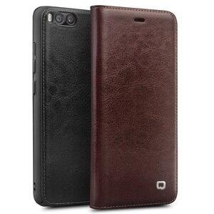 Image 1 - Capa carteira flip de couro genuíno qialino, proteção estilo carteira para xiaomi mi 6, mi6 saco do telefone da ranhura