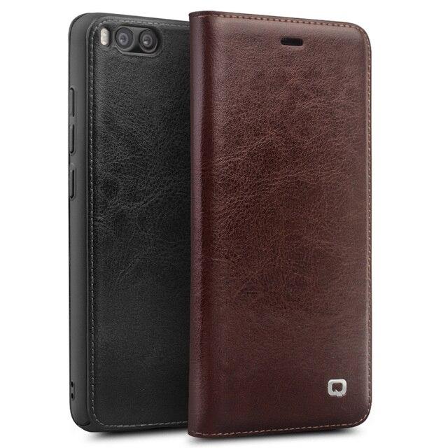 Capa carteira flip de couro genuíno qialino, proteção estilo carteira para xiaomi mi 6, mi6 saco do telefone da ranhura