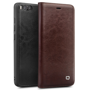 Image 1 - Qialino Real Genuine Leather Case for For Xiaomi 6 Mi6 Mi 6 case for Xiaomi Mi6 Flip Cover Wallet Card Slot Phone Bag