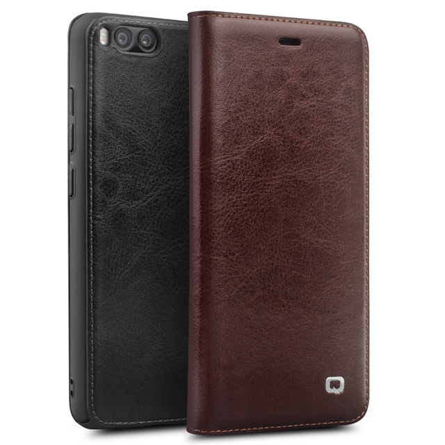 Qialino Real Genuine Leather Case for For Xiaomi 6 Mi6 Mi 6 case for Xiaomi Mi6 Flip Cover Wallet Card Slot Phone Bag