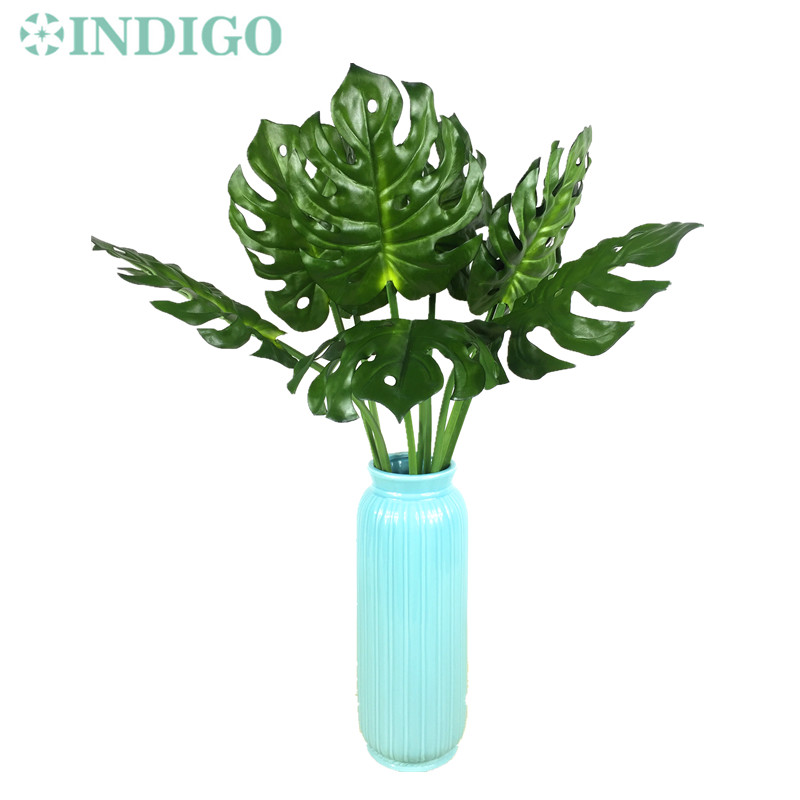 INDIGO-Green Leaves 15pcs Tropical Split Philo Plastic Real Touch Outdoor Artificial Plant Arrangment Branches Free Shipping