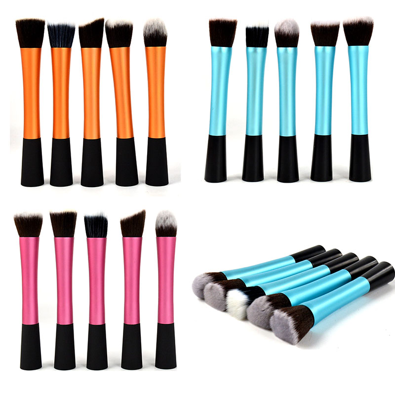 Eyeshadow Powder Cosmetic 3 Colors Lady Tool 5Pcs Waistline Makeup Brushes