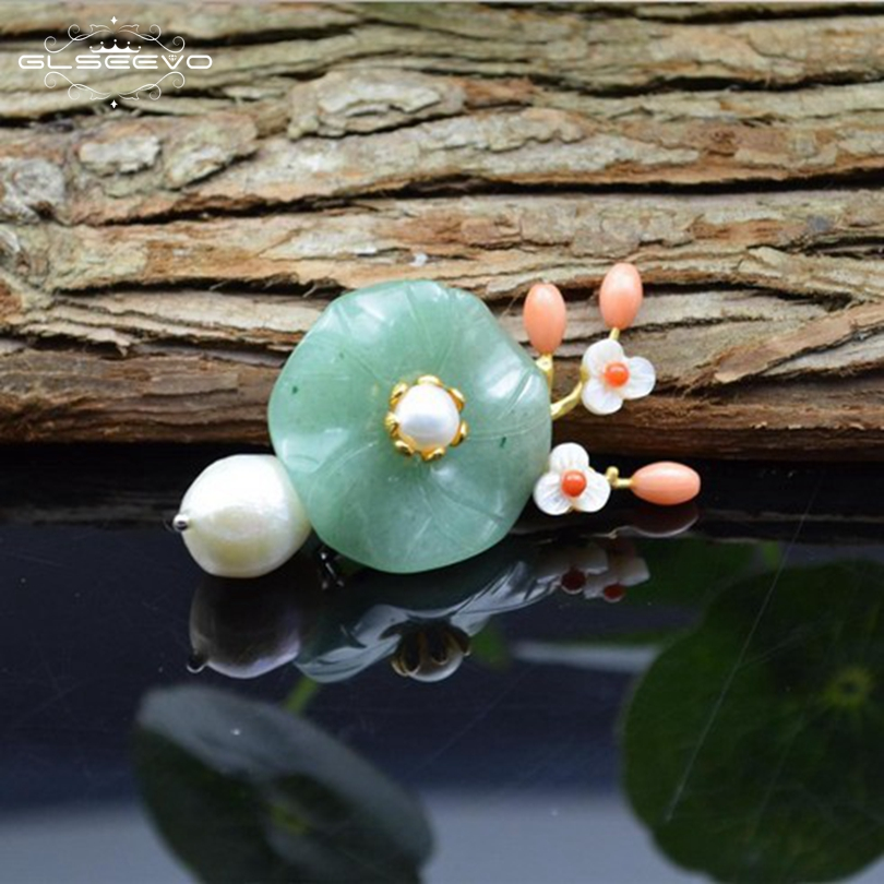 GLSEEVO Luxury Natural Baroque Fresh Water Pearl Aventurine Flower Brooches For Women Party Gift Brooch Dual Use Jewelry GO0074